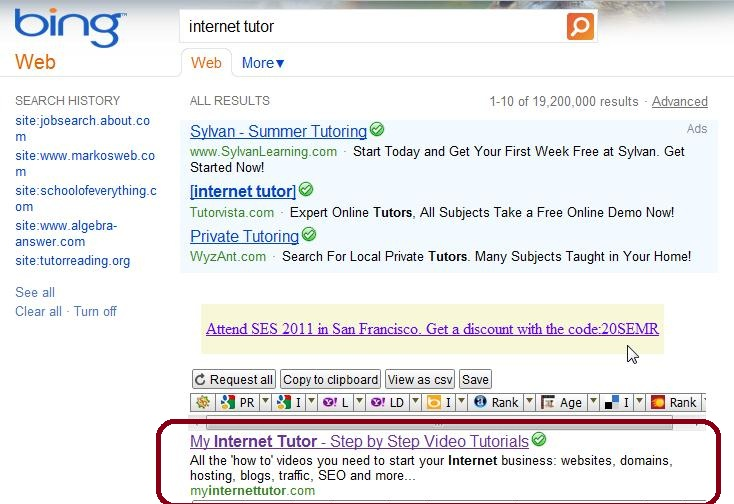 Bing Search Results Internet Tutor