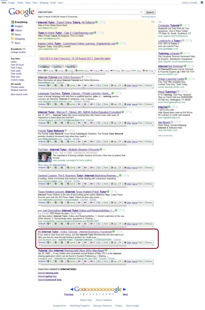 Google Search Internet Tutor Facebook page results