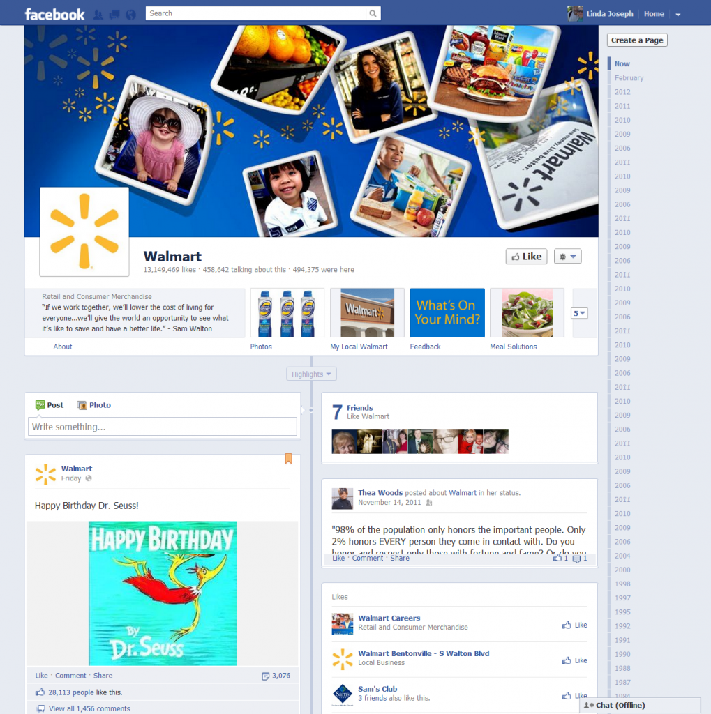 Facebook pages changes - timeline example cover image